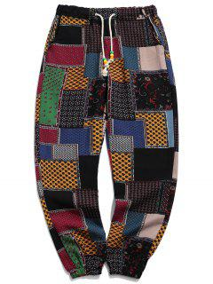 Tribal Ditsy Patchwork Print Long Jogger Pants - Multi-a Xs