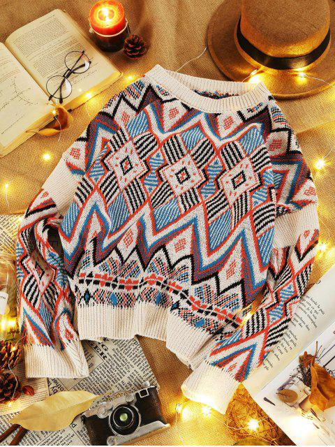 new Geometric Graphic Crew Neck Knitted Sweater - MULTI ONE SIZE Mobile