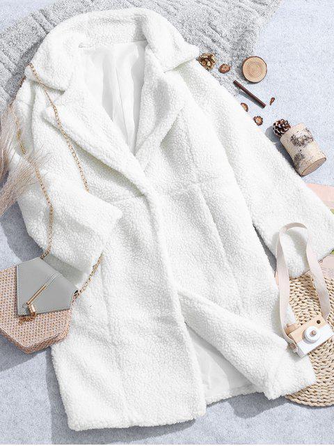 Reißverschluss Manschetten Rücken Schlitz Longline Teddy Mantel - Kristall-Creme L Mobile