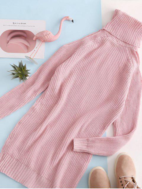 shop Turtleneck Cold Shoulder Raglan Sleeve Sweater Dress - PINK L Mobile
