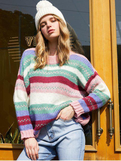 affordable Colorblock Drop Shoulder Jumper Sweater - MULTI ONE SIZE Mobile