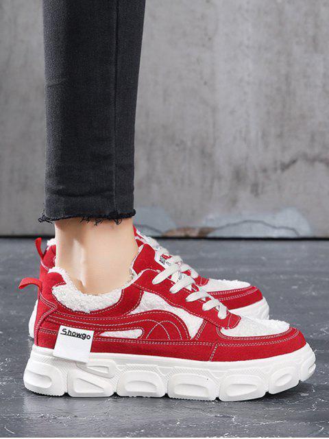 人造毛皮板平台滑板鞋 - 熔岩紅 歐盟39 Mobile