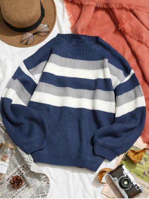 Kontraststreifen Tropfen Schulter Pullover - Blau L Mobile