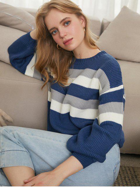 Kontraststreifen Tropfen Schulter Pullover - Blau XL  Mobile