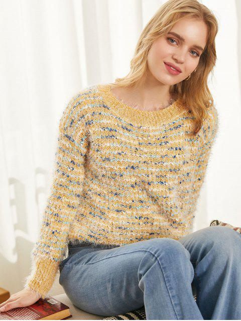 fashion Crew Neck Fuzzy Heathered Jumper Sweater - MULTI-A ONE SIZE Mobile