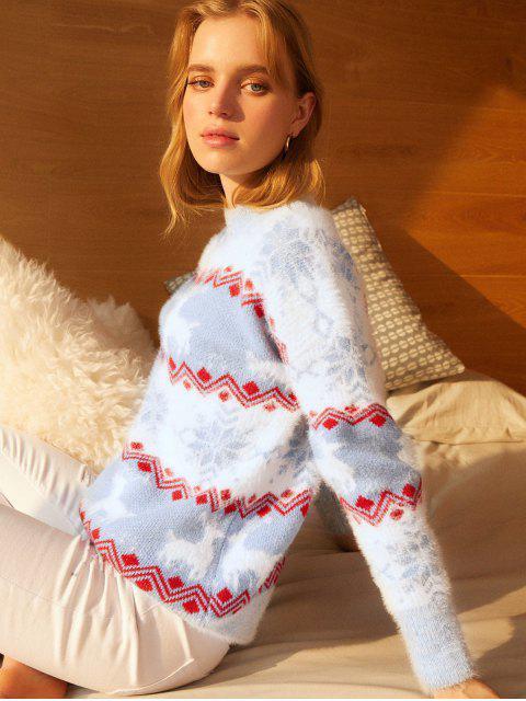 Stehkragen Elch Schneeflockegraphik Weihnachten Pullover - Himmelblau Eine Größe Mobile