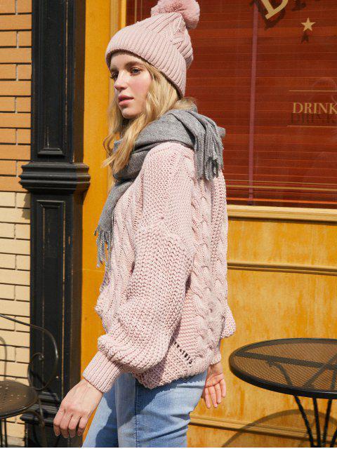 Tropfen Schulter Zopfmuster Rückenausschnitt Pullover - Rose Eine Größe Mobile