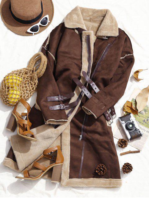 Manteau Long Zippé Ceinutré à Doublure en Fourré en Faux Daim - Café S Mobile
