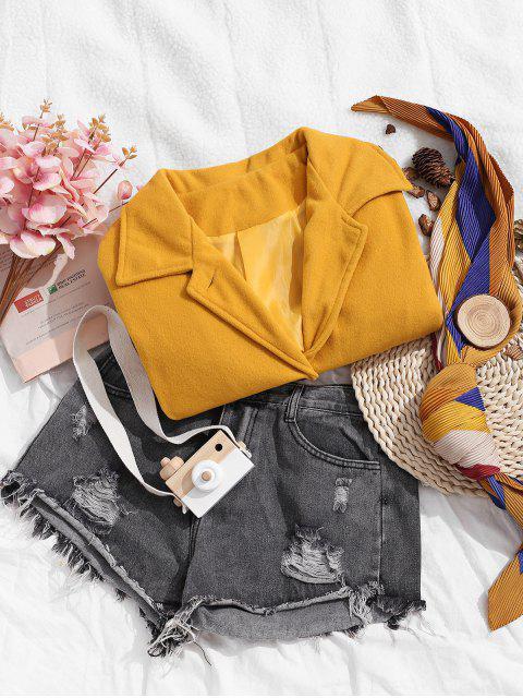 Manteau Boutonné en Couleur Unie avec Poches - Jaune XL Mobile