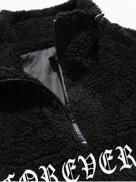 ZAFUL Manteau Zippé Motif de Lettre - Noir S Mobile