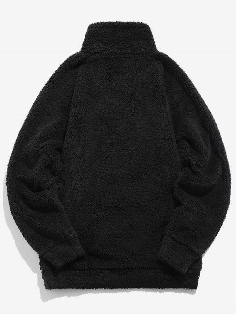 unique ZAFUL Letter Pattern Quarter Zipper Teddy Coat - BLACK L Mobile