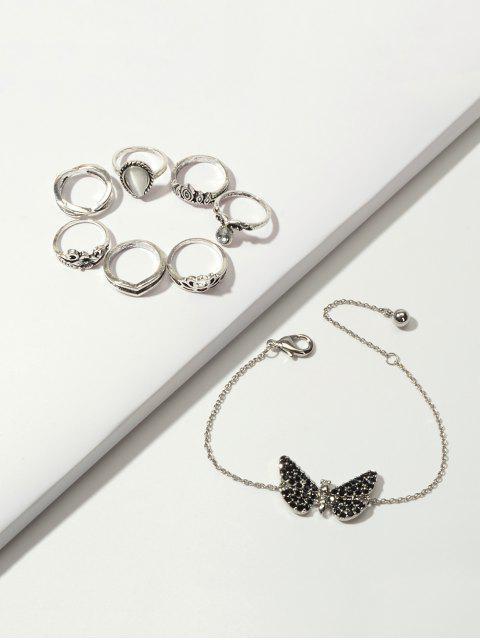 Корона Цветок Бабочка Кольцо Цепной Браслет в сборе - Серебристый  Mobile