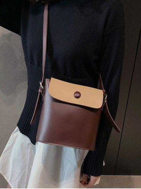 Klappe Schlinge Eimer Tasche aus PU Leder - Kaffee  Mobile