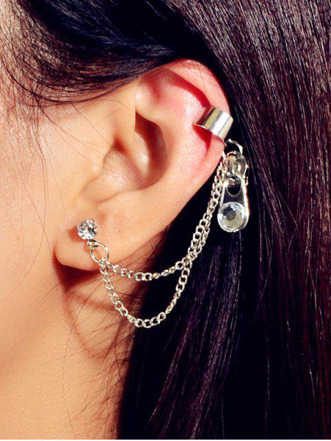 Strass Reißverschluss Stil Ohr Manschette - Silber  Mobile