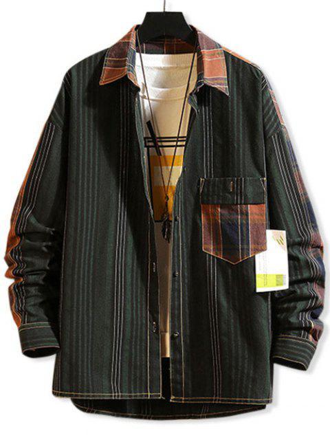 Streifenmuster Taschen Knopf Design Jacke - Multi-A 2XL Mobile