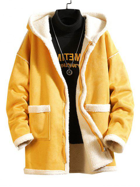 Einfarbiger Reißverschluss Flauschige Mantel - Gelb 4XL Mobile