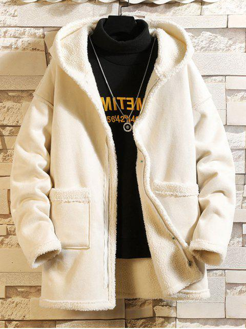 Einfarbiger Reißverschluss Flauschige Mantel - Weiß 3XL Mobile