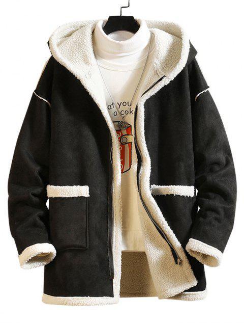 Manteau Zippé Fourré en Couleur Unie avec Poche - Noir 4XL Mobile
