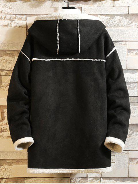 Einfarbiger Reißverschluss Flauschige Mantel - Schwarz 4XL Mobile