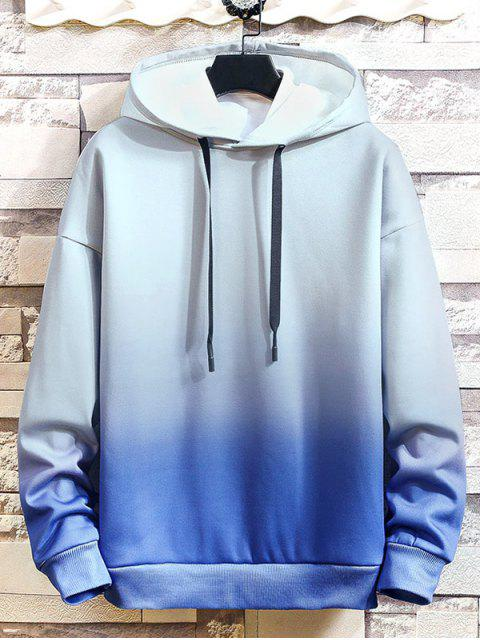 Ombre impresos tinte del lazo con capucha informal - Azul XL Mobile