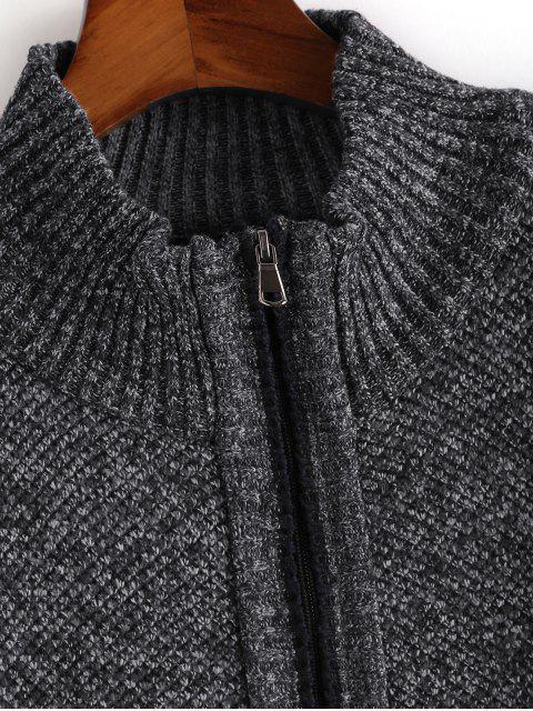 Heathered休閒拉鍊拉上針織外套 - 深灰色 S Mobile