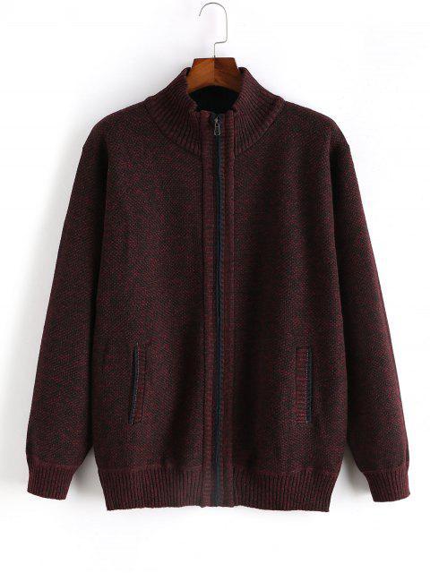 Heathered休閒拉鍊拉上針織外套 - 紅酒 XS Mobile