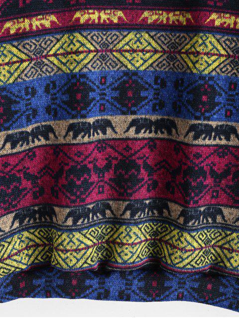 Vorhangschnur Vordertasche Tribal Druck Hoodie - Blaubeere L Mobile