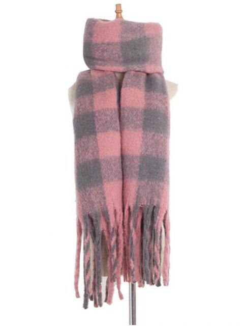 Langer Schal mit Karomuster und Quaste - Rosa  Mobile