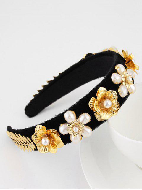 Blumen Künstliche Perlen Samt Breites Haarband - Schwarz  Mobile