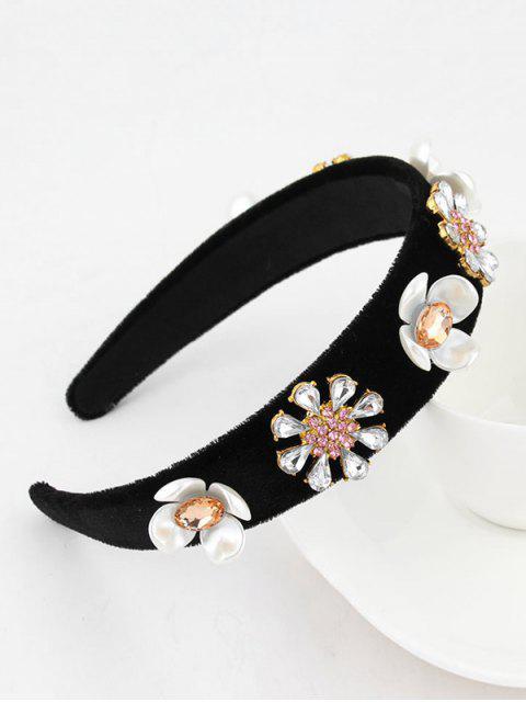 Blumen Strass Samt Breites Haarband - Schwarz  Mobile
