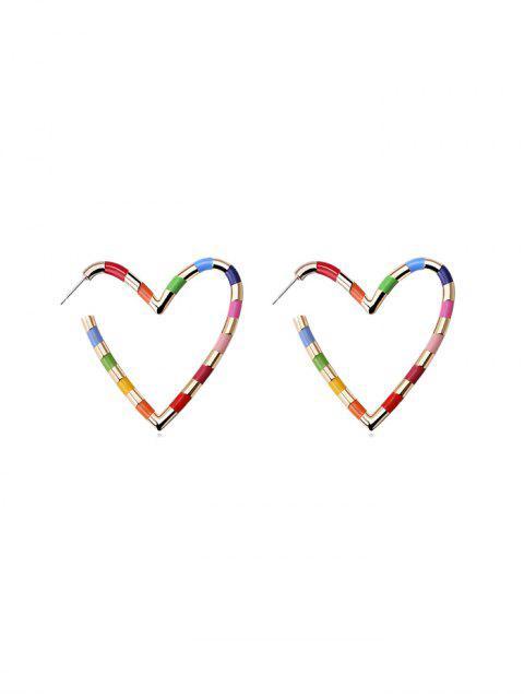 Regenbogen Farbe Herz Ohrstecker - Gold  Mobile