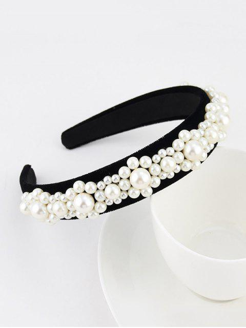 Bandeau Large en Fausse Perle en Velours - Noir  Mobile