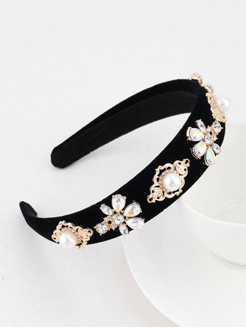 Künstliche Perlen Blumen Strass Samt Haarband - Schwarz  Mobile