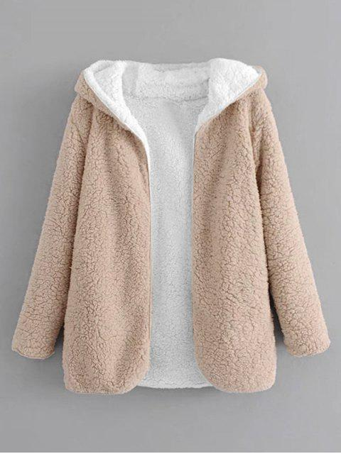 latest Hooded Open Front Lamb Wool Teddy Coat - APRICOT L Mobile