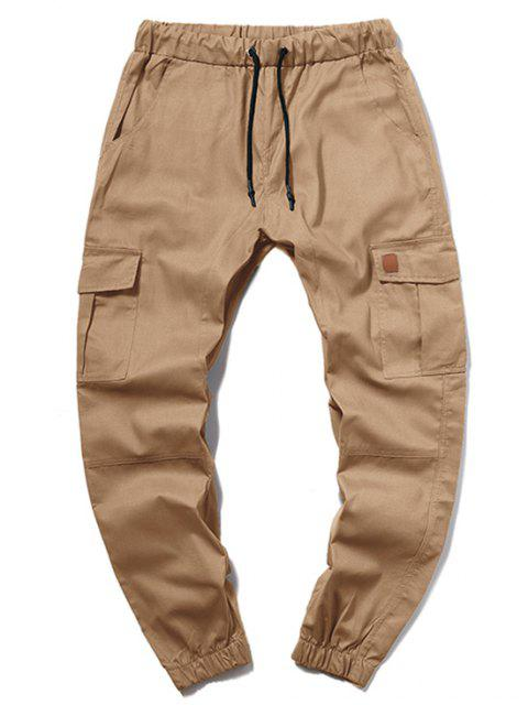 fancy ZAFUL Solid Color Pocket Drawstring Cargo Pants - CAMEL BROWN M Mobile