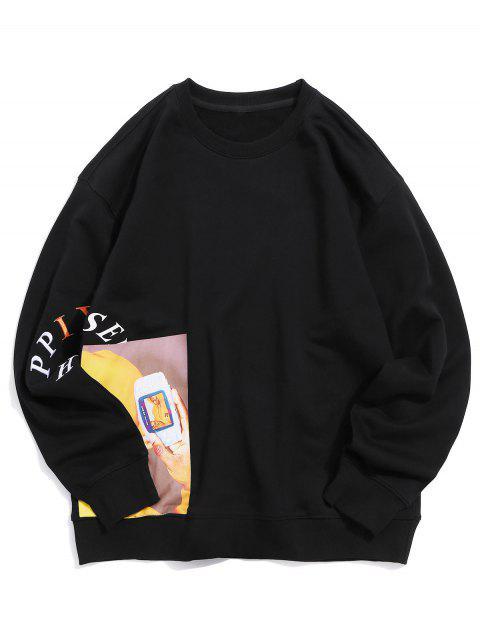 字母刺繡圖形印花休閒運動衫 - 黑色 S Mobile