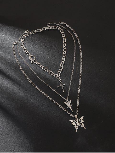 Engel Schmetterling Mehrschichtige Kette Halskette - Silber  Mobile