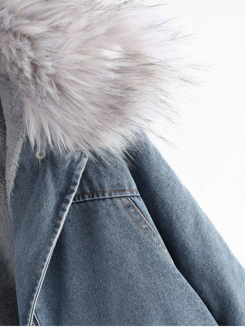 Vlies Gefütterte Hoodie Reißverschluss Oben Denim Mantel - Denim Blau M Mobile