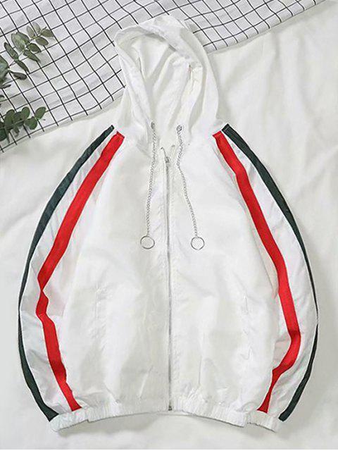 Farbe Gespleißte Zipper Freizeitjacke - Weiß 2XL Mobile