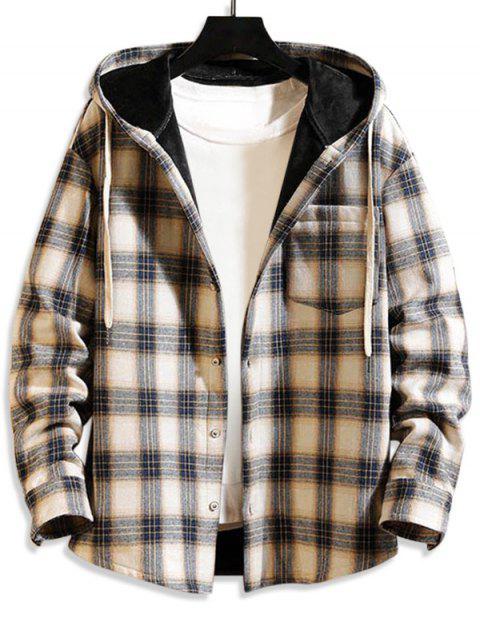 Karierte Muster Knopf Taschen Jacke - Tan Braun XL Mobile