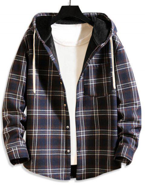 Karierte Muster Knopf Taschen Jacke - Marinblau XL Mobile