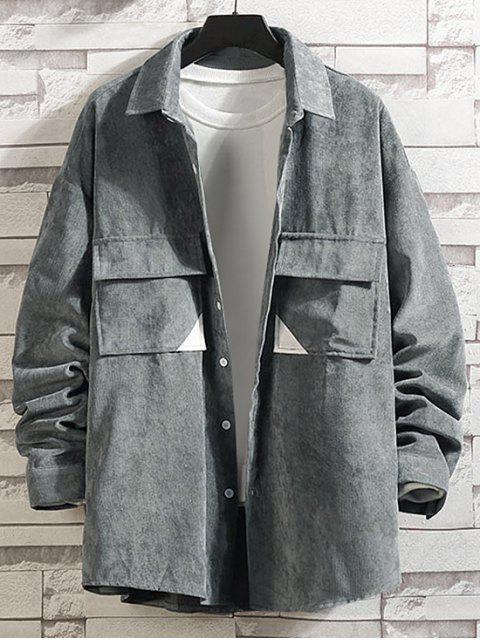 Farbe Gespleißte Tasche Verzierte Knopf Jacke - Grau 3XL Mobile