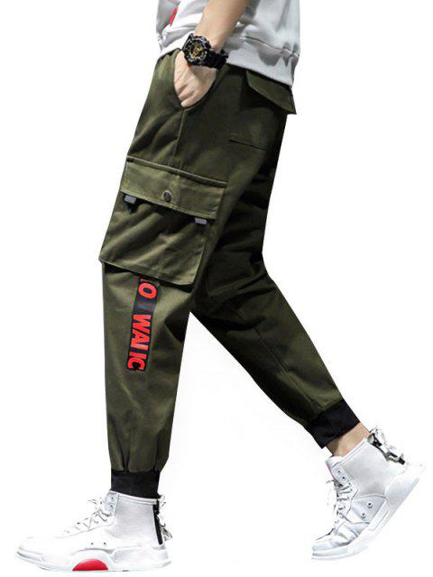 trendy Graphic Pattern Pocket Decoration Jogger Pants - ARMY GREEN M Mobile