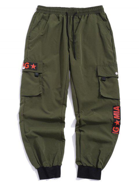 Grafik Muster Tasche Dekoration Jogger Hose - Armeegrün XL Mobile