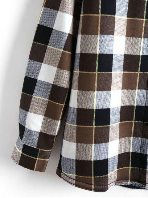 格紋打印口袋長袖襯衫毛絨 - 咖啡 2XL Mobile