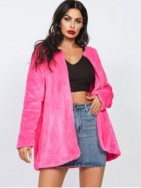 Manteau Tunique Ouvert en Avant en Fausse Fourrure - Rouge Rose L Mobile