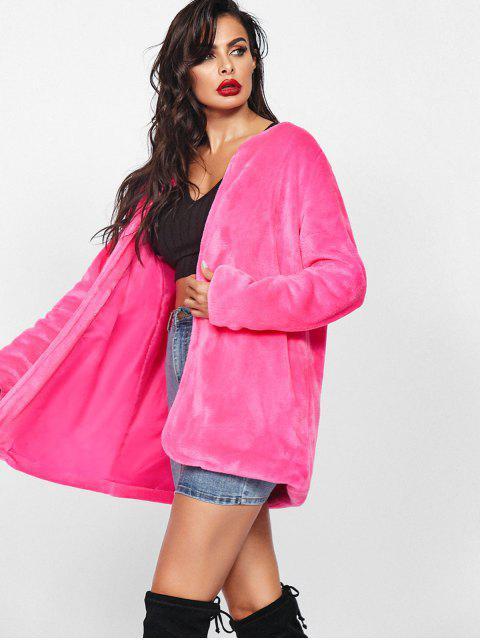 人造毛皮開鋒外套大衣 - 玫瑰紅 L Mobile