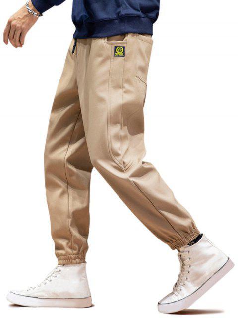 online Graphic Icon Pattern Casual Jogger Pants - KHAKI M Mobile