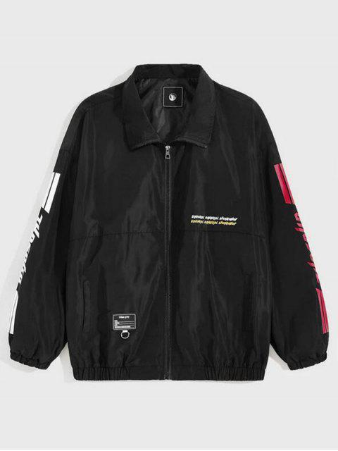 不尋常的圖形跌落肩休閒夾克 - 黑色 L Mobile