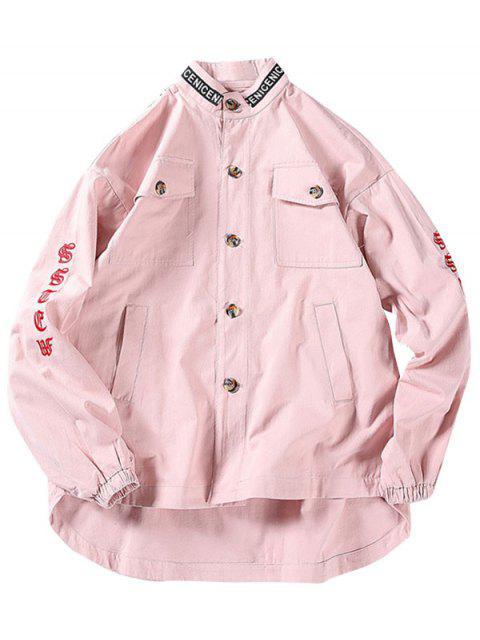 Buchstabedruck Bestickte Knopf Jacke - Pink XL Mobile